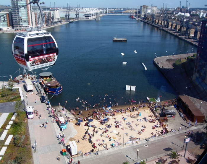 Cable car over Royal Docks beach
