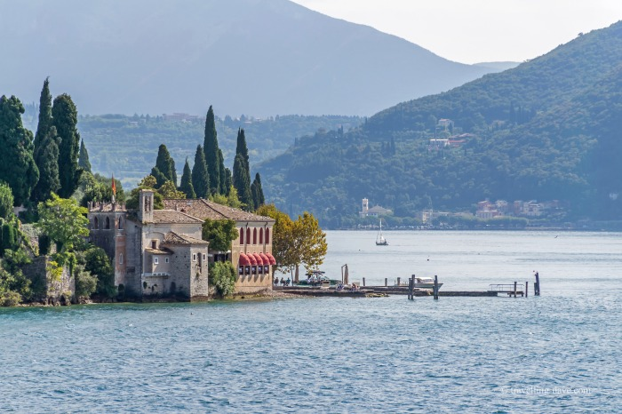 View of the small church of San Vigilio on Lake Garda