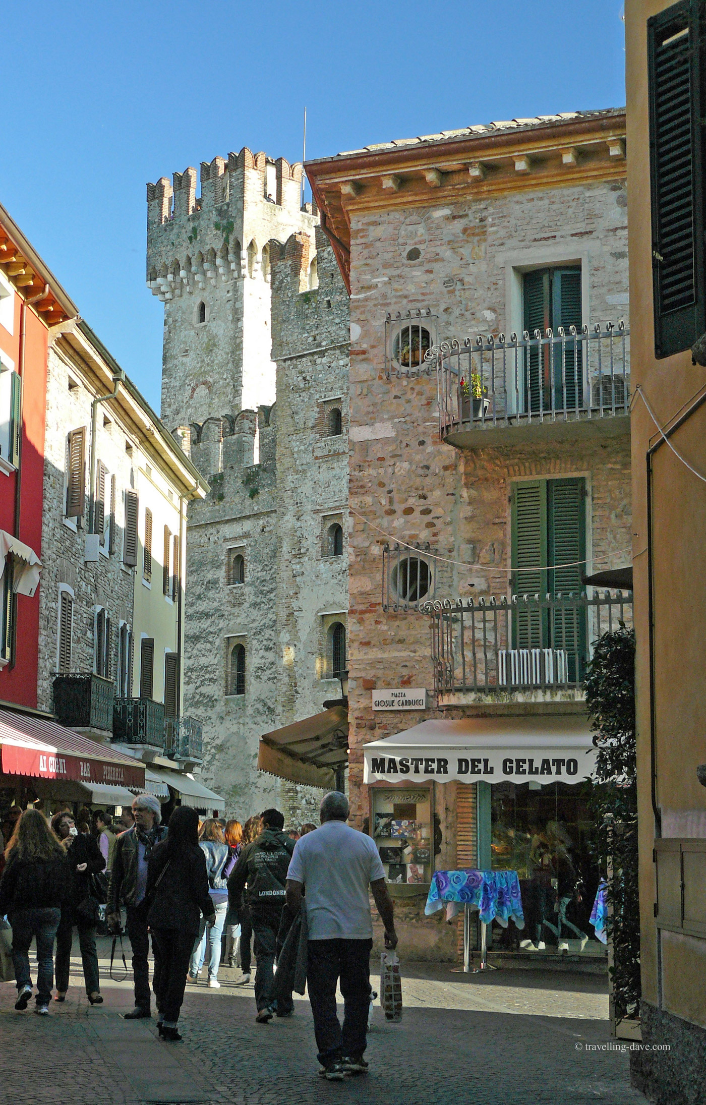 Sirmione street and castle in Italy