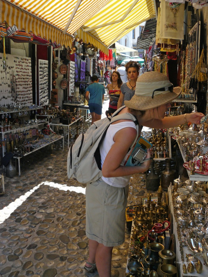 Tourists browsing stalls in Mostar