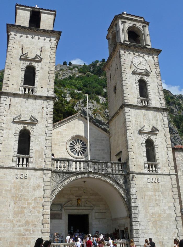 Looking up at Kotor cathedral
