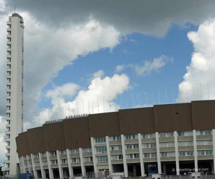 View of the stadium and tower in Helsinki