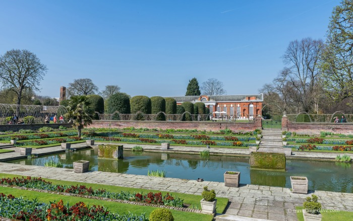 View of the sunken Dutch garden at Kensington Palace