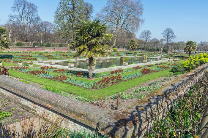 View of the sunken garden at Kensington Palace