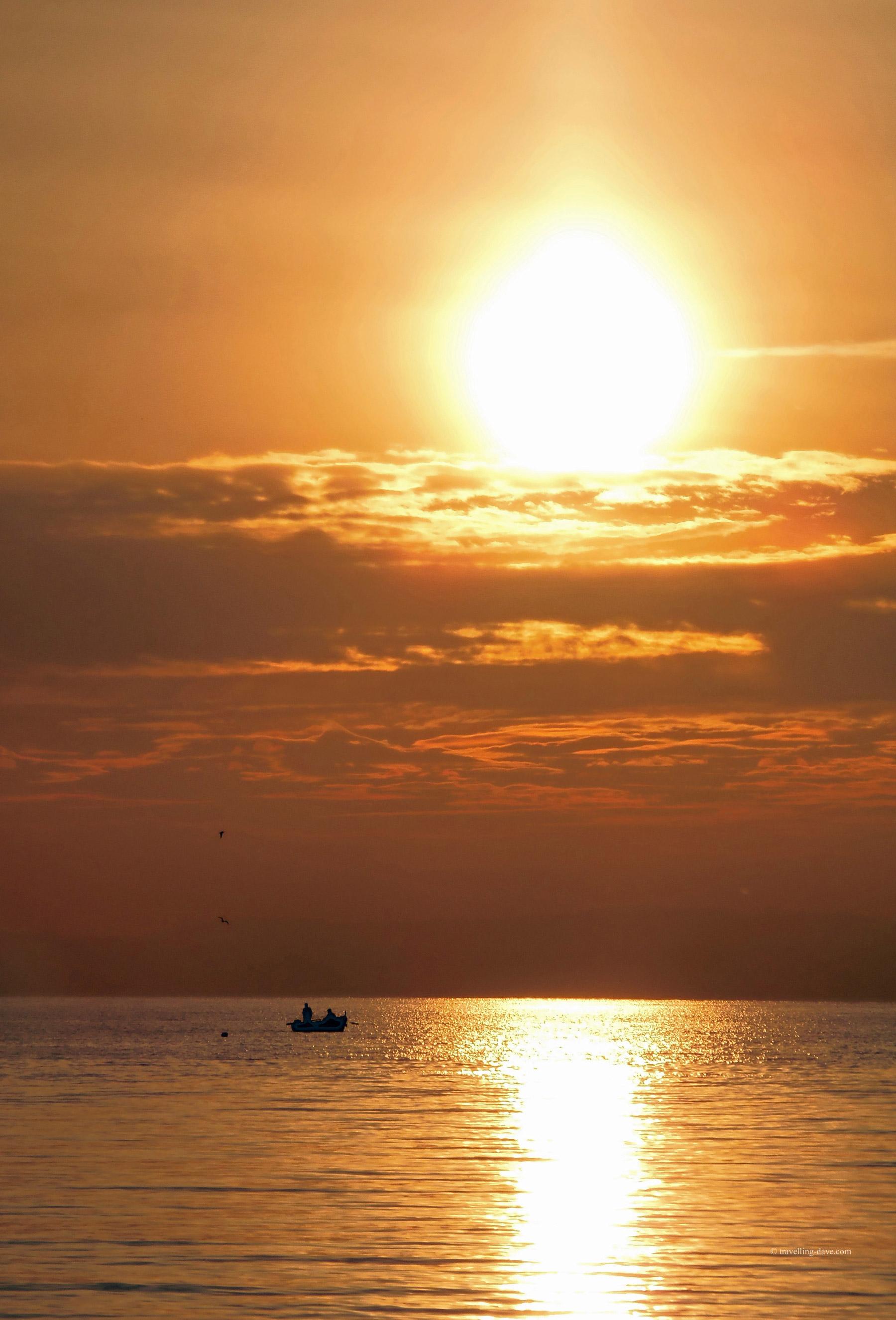 Sun setting on Lake Garda in Italy