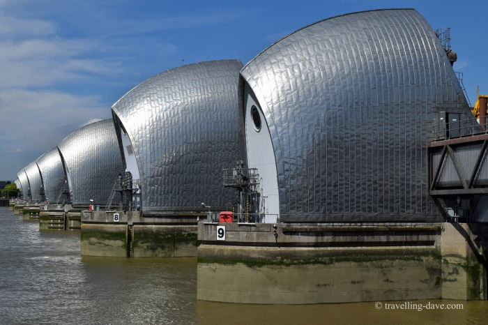 Looking across the Thames Barrier in London