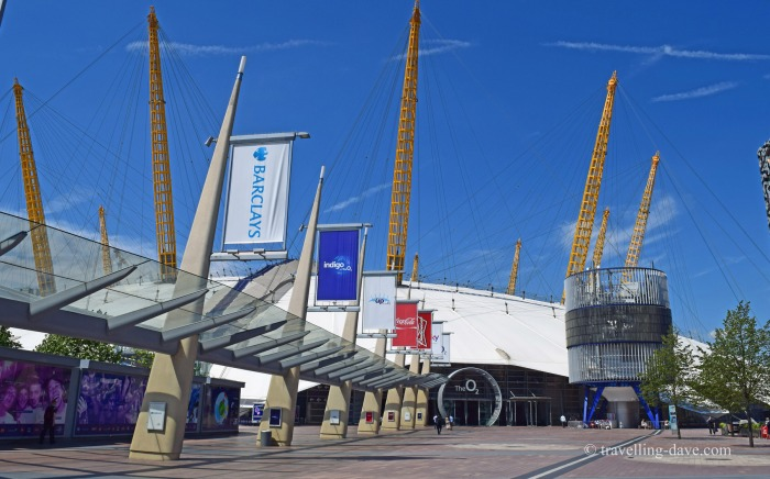 The covered walkway at the O2 in London
