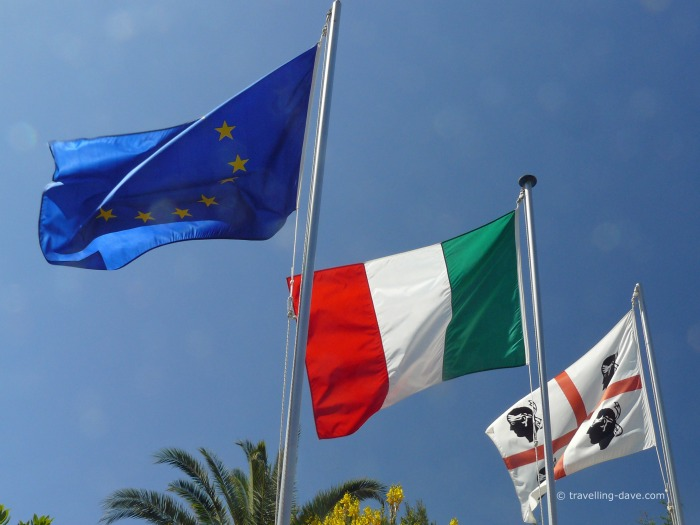 The flags of Sardinia, Italy and Europe