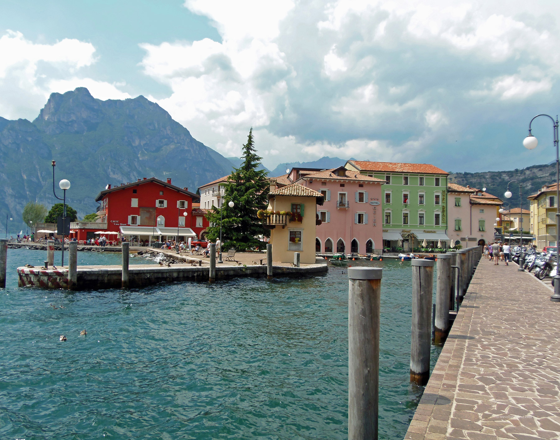 View of colorful houses of Torbole in Italy