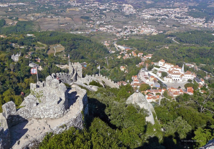Panoramic view of the Moorish Castle and Sintra town center