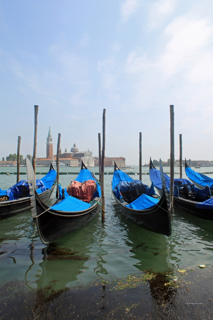 View of four gondolas in Venice