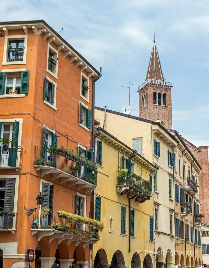 View of some colourful houses in the city of Verona