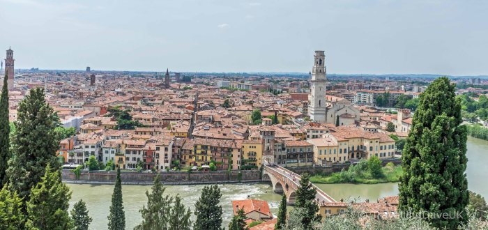 Panoramic view of Verona in Italy
