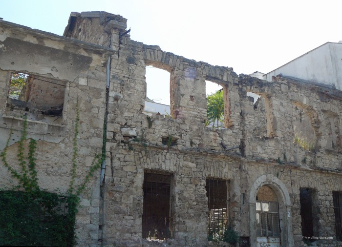 View of a building damaged during the Balkan War in Mostar