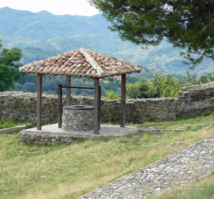 View of a well in the grounds of Preze Castle in Albania