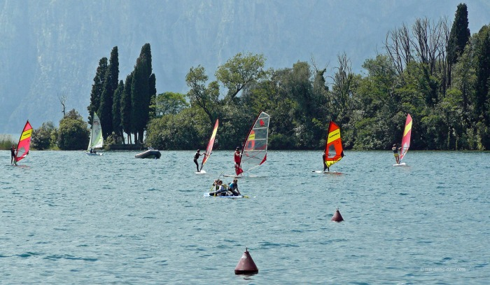 Windsurfers on the lake in Italy