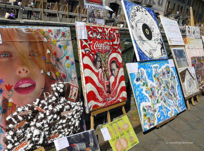 Some of the artworks on display along the Navigli in Milan