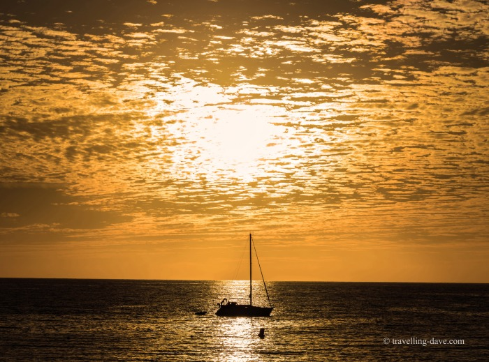 Sunset and boat in Tenerife