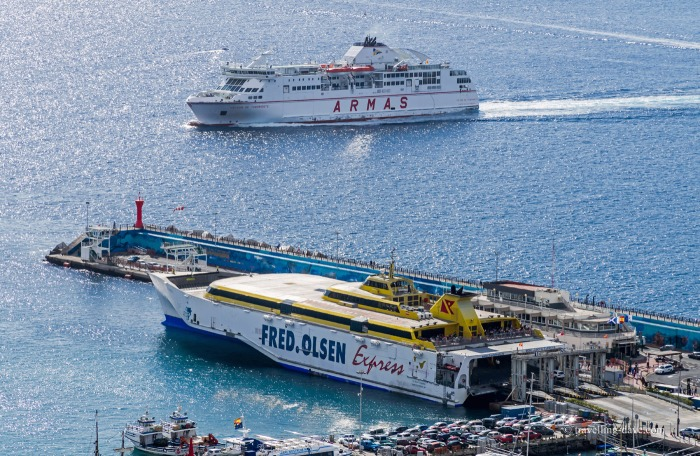 Two ferries at Los Cristianos in Tenerife