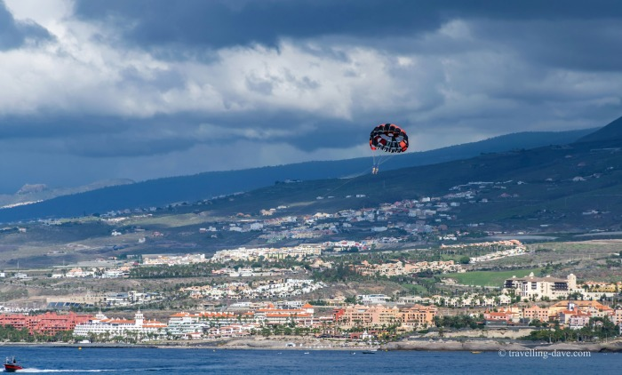 View of a parasailer in Tenerife