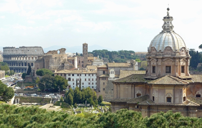 Churches and buildings seen from the Capitoline Hill