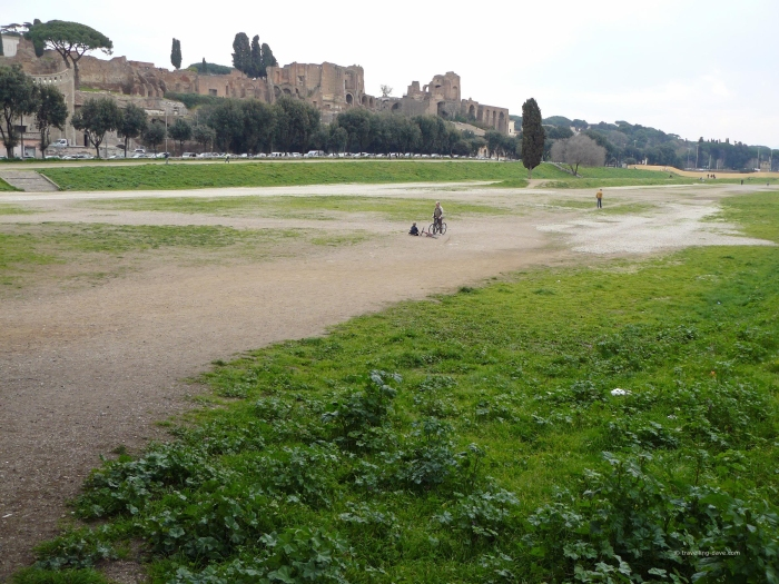 View of the site of the ancient Circus Maximus in Rome