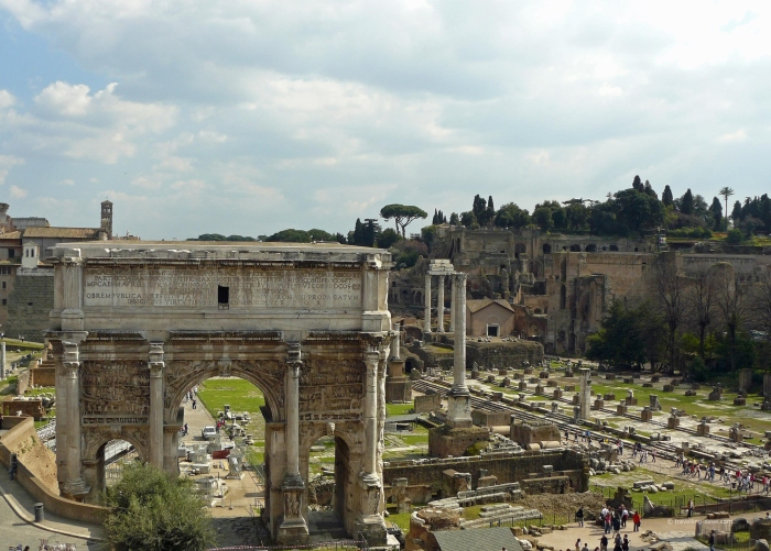 View of the Roman Forum ruins