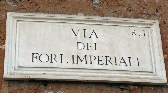 Via dei Fori Imperiali street sign in Rome
