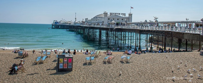 View of the beach and pier in Brighton