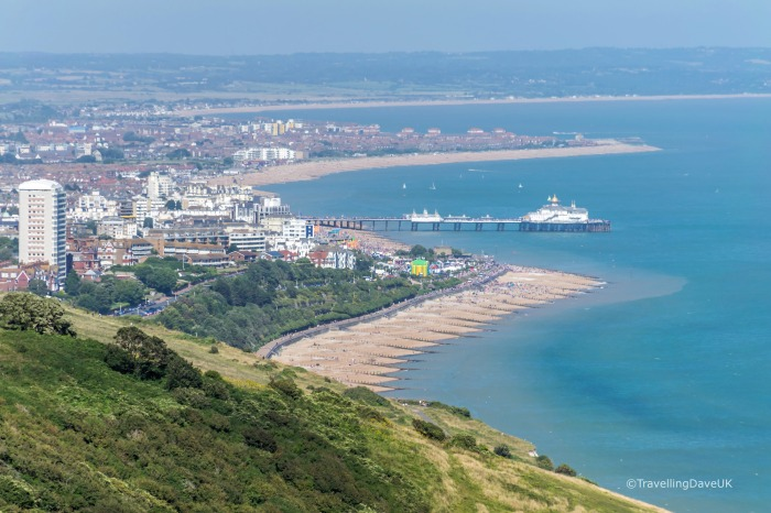 The view of Eastbourne and the coastline from Eastbourne Downland