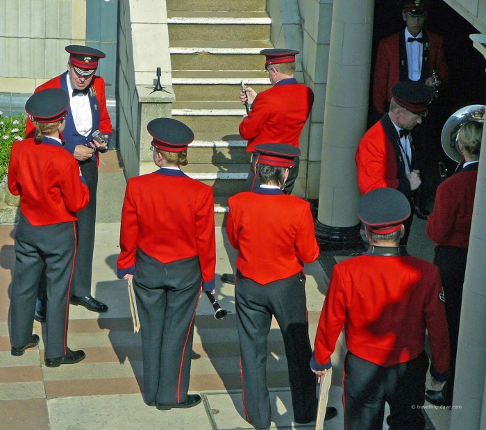 Red uniformed musicians in Eastbourne