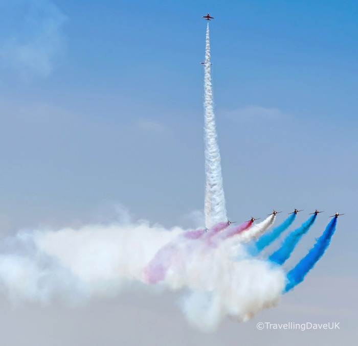 View of an flight display of the RAF Red Arrows