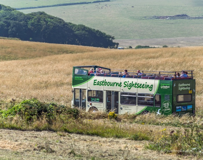 View of the open-top sightseeing bus in Eastbourne