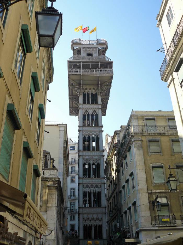 Looking up at Elevador de Santa Justa