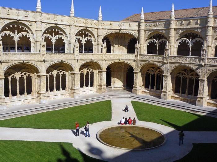 View of the cloister at Jeronimos Monastery