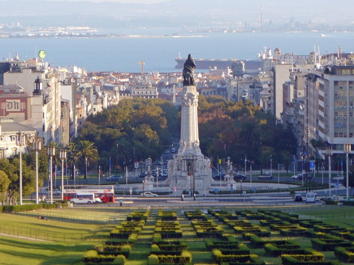 Park and Pombal statue in Lisbon
