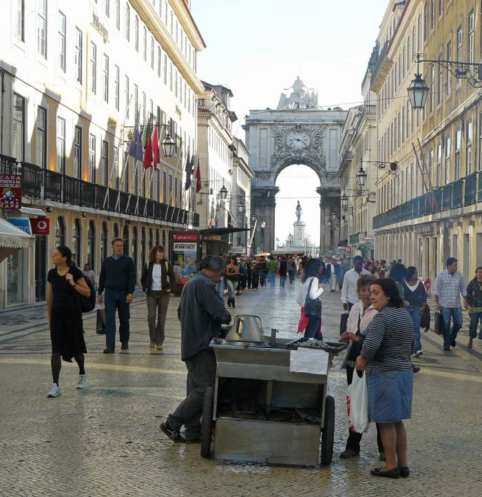 People on Rua Augusta in Lisbon