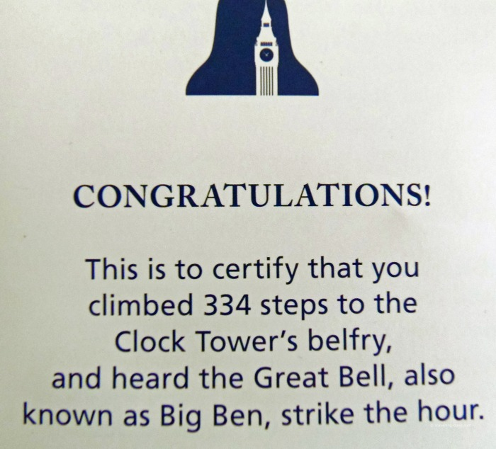 View of the certificate awarded for the Elizabeth Tower climb