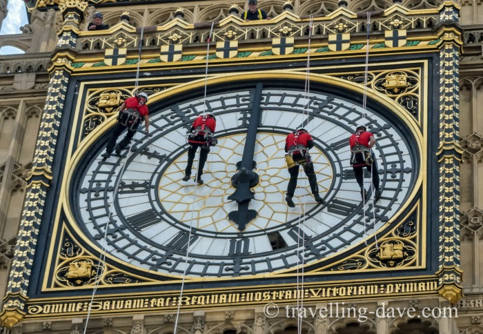 Four cleaners on the Elizabeth Tower clock face