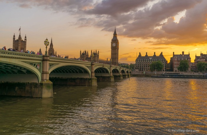 View of Westminster Bridge at sunset
