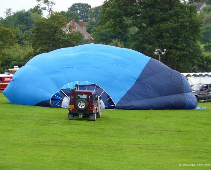 Blue canopy of a hot air balloon
