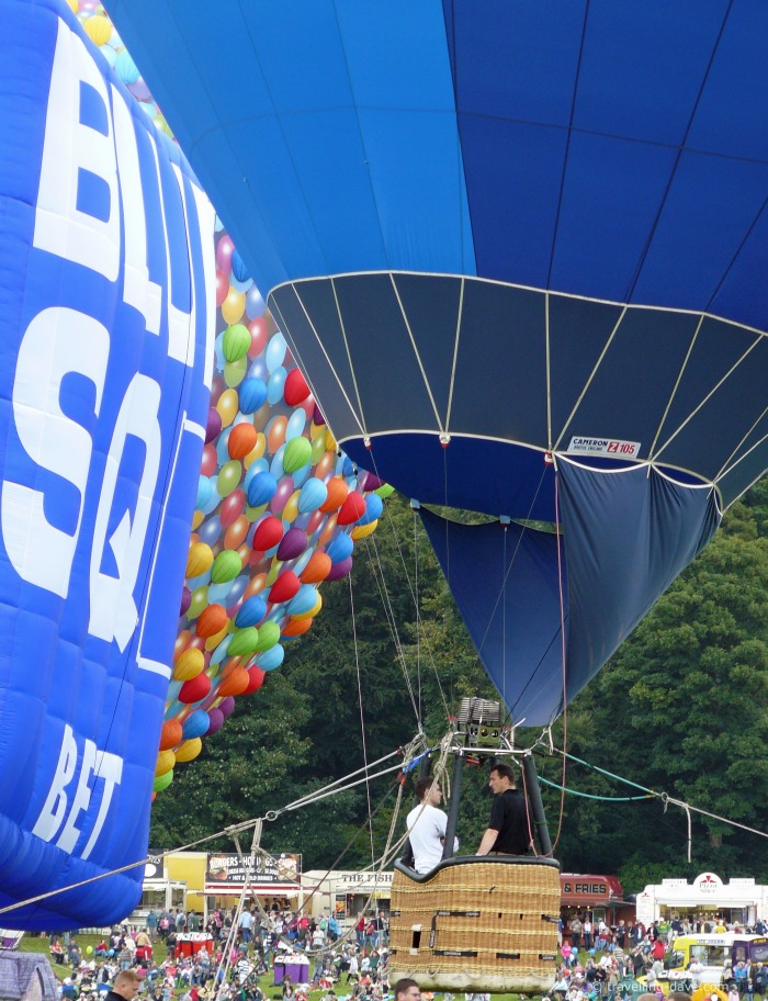 Blue hot air balloon ready for take off