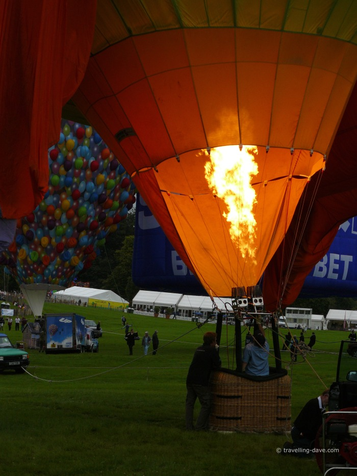 View of a gas flame on a hot air balloon