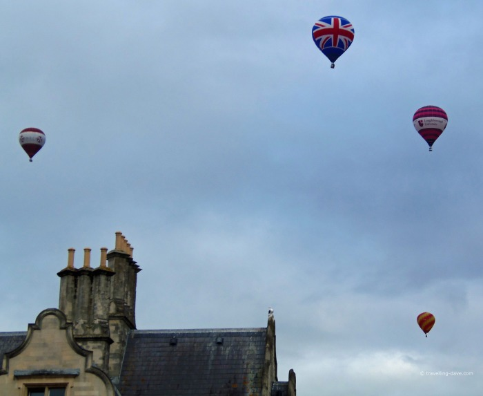 View of four hot air balloons