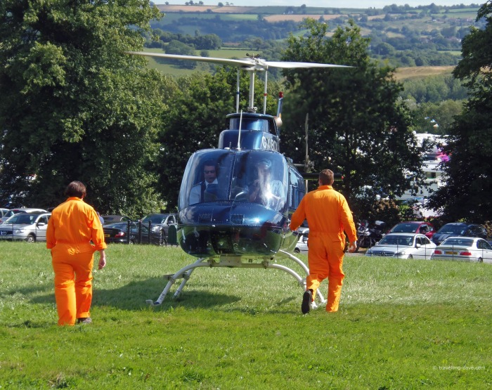 An helicopter landing at Bristol