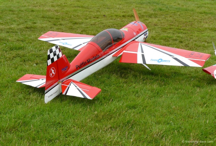 View of a red and white model aircraft