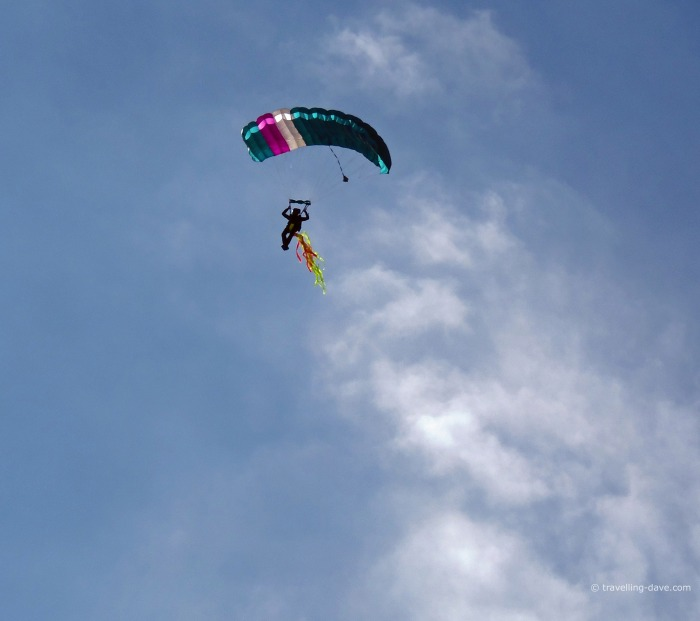 A parachutist at Bristol International Balloon Fiesta