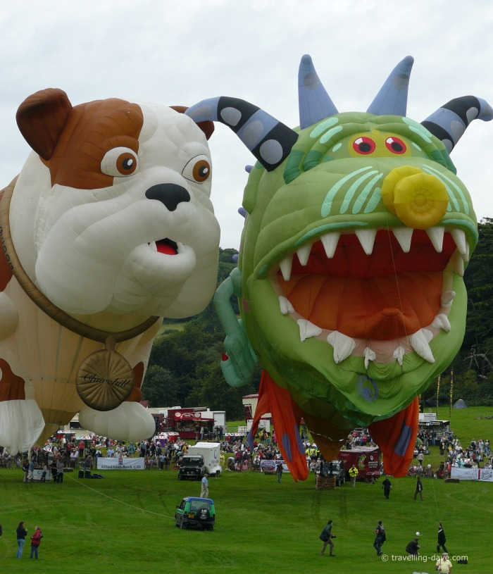Cartoon characters hot air balloons