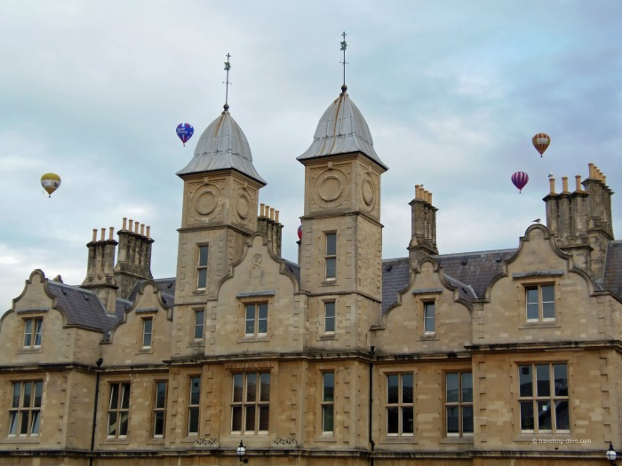 Bristol building and hot air balloons