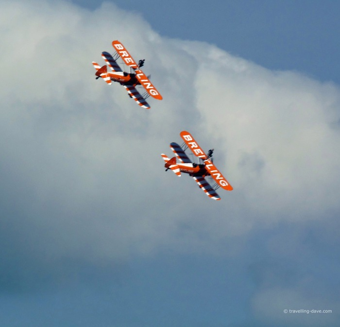 View of two wing walkers planes